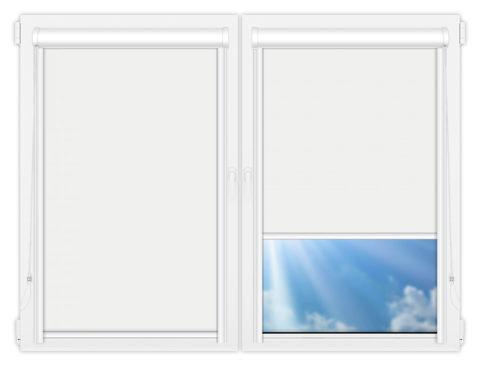 Рулонные кассетные шторы УНИ - Аргентум-белый на пластиковые окна