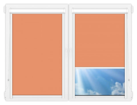 Рулонные кассетные шторы УНИ - Аргентум-кирпичный на пластиковые окна