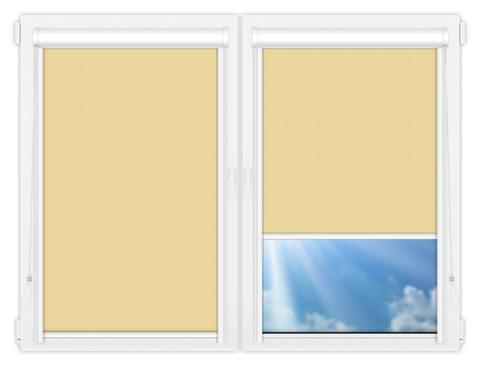 Рулонные кассетные шторы УНИ - Аргентум-кремовый на пластиковые окна