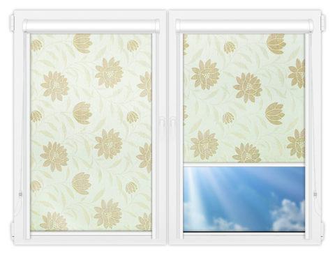 Рулонные кассетные шторы УНИ - Далия-бежевый на пластиковые окна