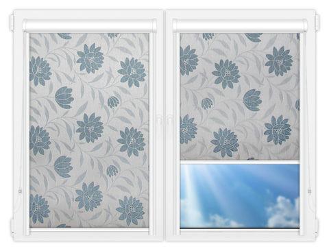 Рулонные кассетные шторы УНИ - Далия-голубой на пластиковые окна