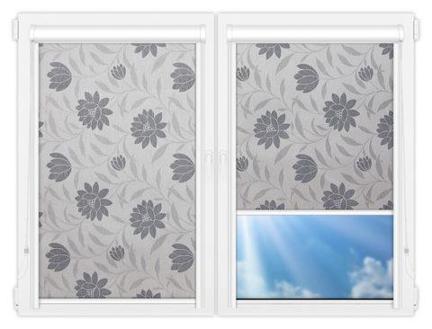 Рулонные кассетные шторы УНИ - Далия-серый на пластиковые окна