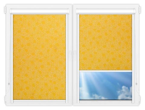 Рулонные кассетные шторы УНИ - Индра-еллоу на пластиковые окна