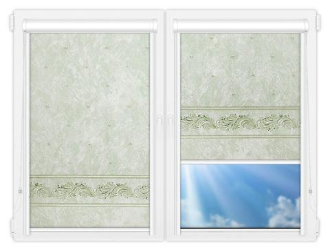 Рулонные кассетные шторы УНИ - Орнамент-грин