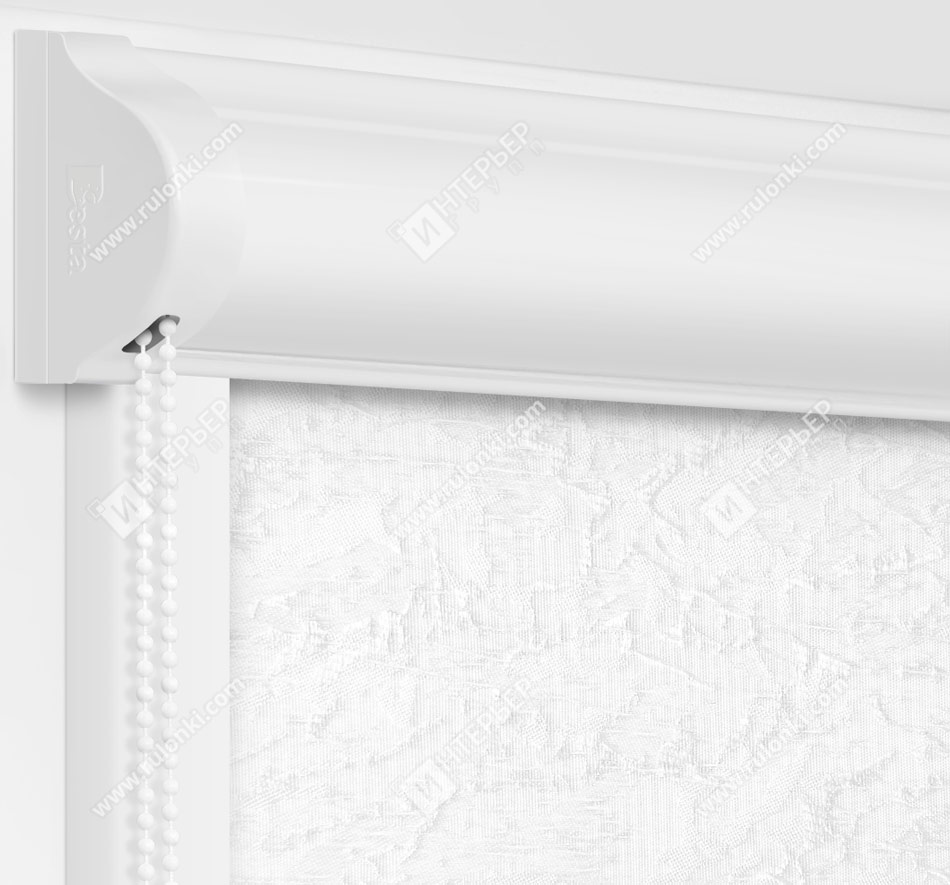 Рулонные кассетные шторы УНИ - Шелк белый