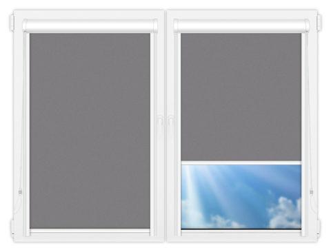 Рулонные кассетные шторы УНИ - Силк-скрин-алю-светло-серый на пластиковые окна