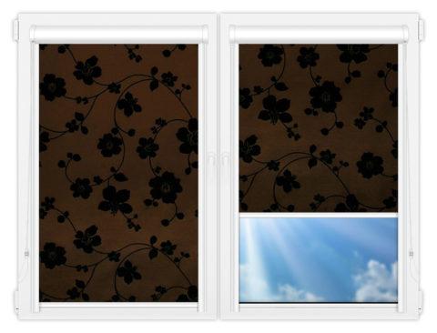 Рулонные кассетные шторы УНИ - Тафетта-коричневый на пластиковые окна