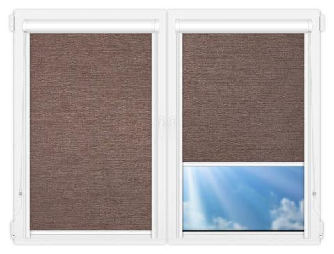 Рулонные кассетные шторы УНИ - Валенсия-коричневый на пластиковые окна