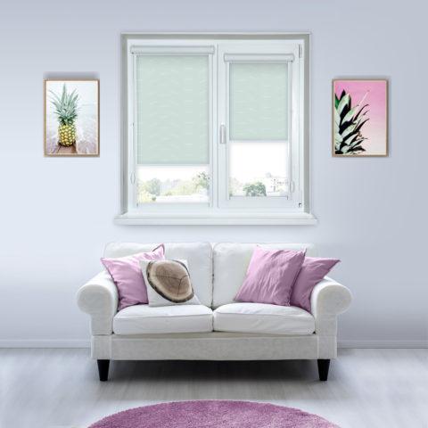 Рулонные кассетные шторы УНИ - Флора салатовый
