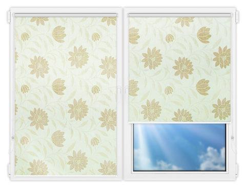 Рулонные шторы Мини - Далия-бежевый на пластиковые окна