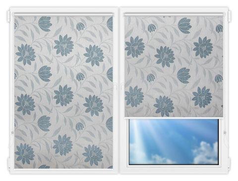 Рулонные шторы Мини - Далия-голубой на пластиковые окна