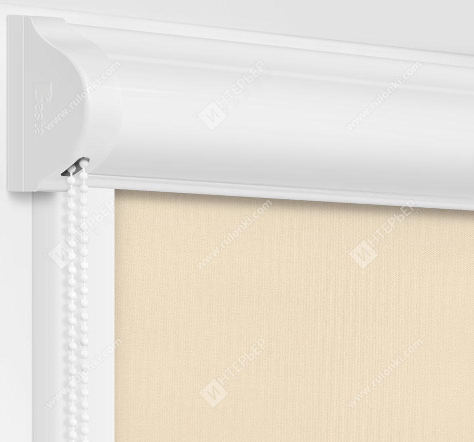 Рулонные кассетные шторы УНИ – Респект блэкаут светло-бежевый