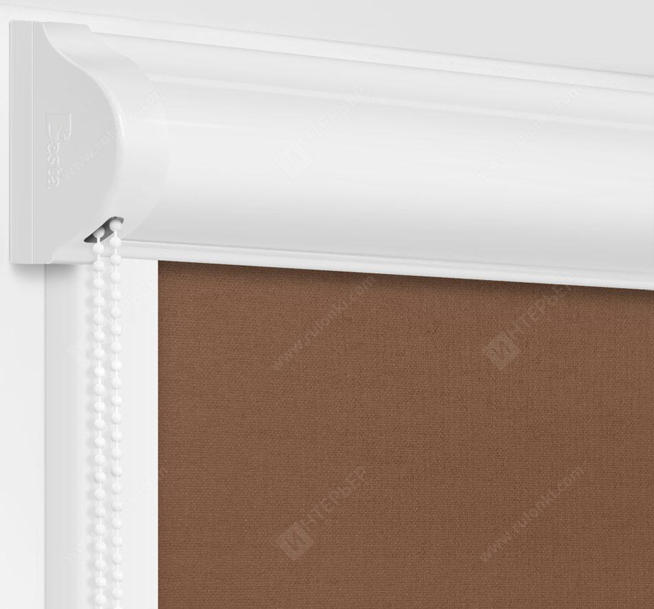 Рулонные кассетные шторы УНИ - Карина коричневый