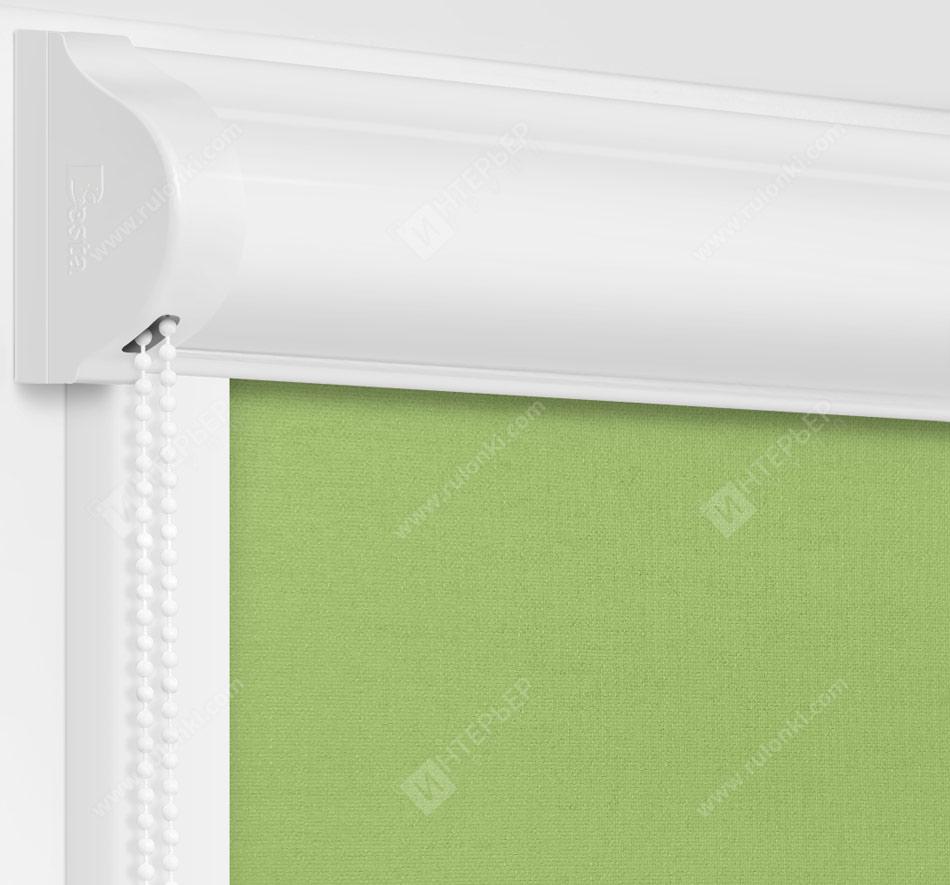 Рулонные кассетные шторы УНИ - Карина блэкаут светло-зеленый