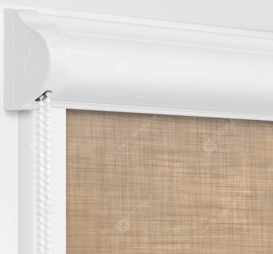 Рулонные кассетные шторы УНИ - Анже темно-бежевый
