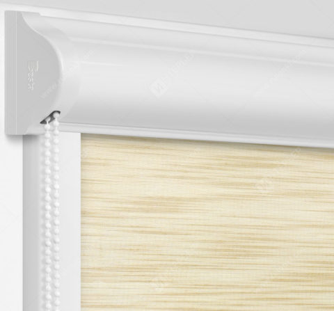 Рулонные кассетные шторы УНИ - Андрия песочный на пластиковые окна