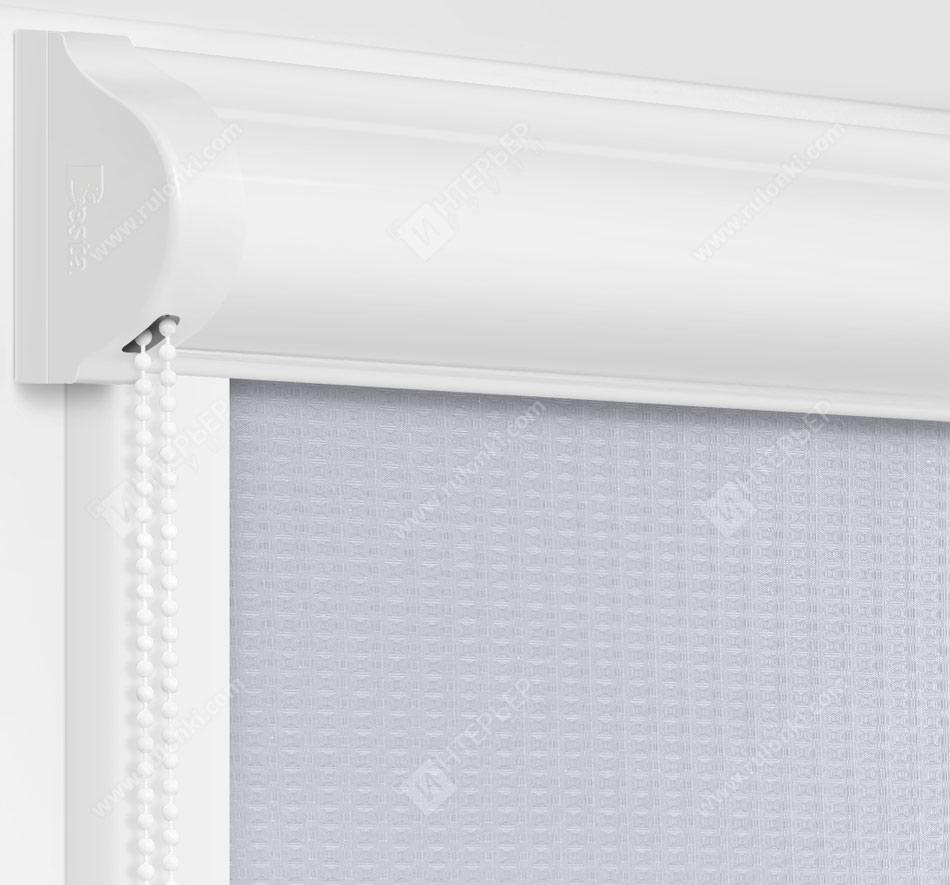 Рулонные кассетные шторы УНИ - Севилья светло-серый блэкаут на пластиковые окна