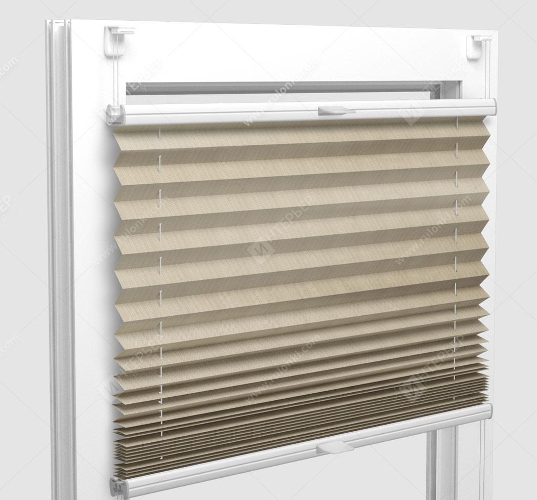 Шторы Плиссе - Бароло перл кремовый на пластиковые окна