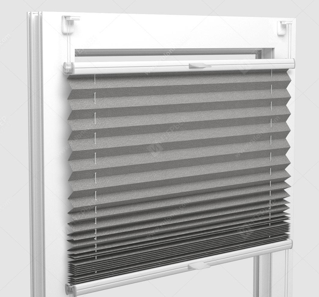 Шторы Плиссе - Базель светло-серый на пластиковые окна