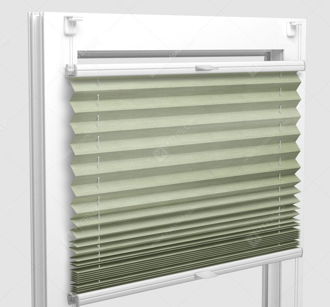 Шторы Плиссе - Флаер перл оливковый на пластиковые окна