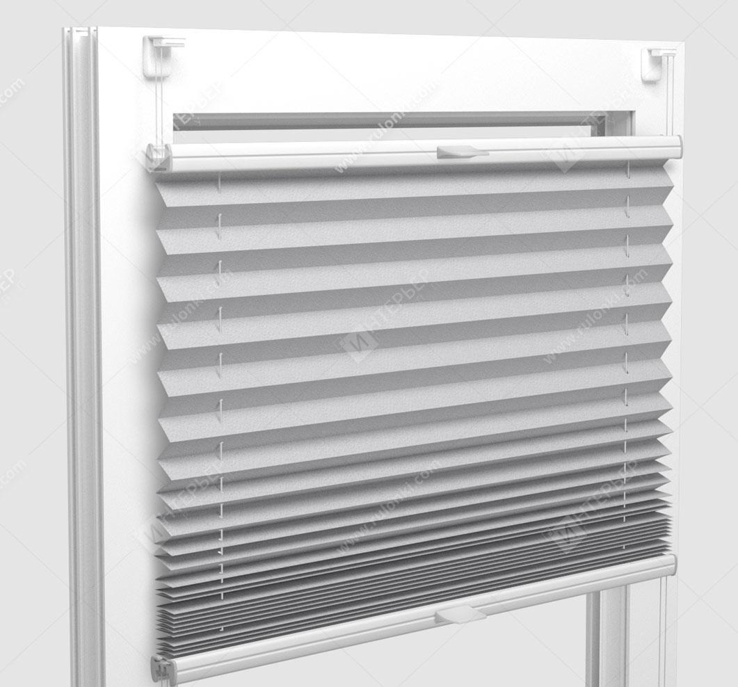 Шторы Плиссе - Комо светло-серый на пластиковые окна