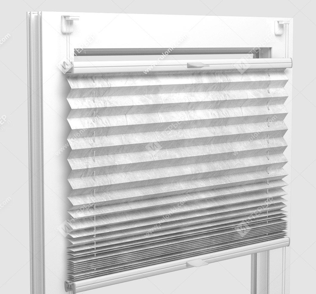 Шторы Плиссе - Краш металлик белый на пластиковые окна