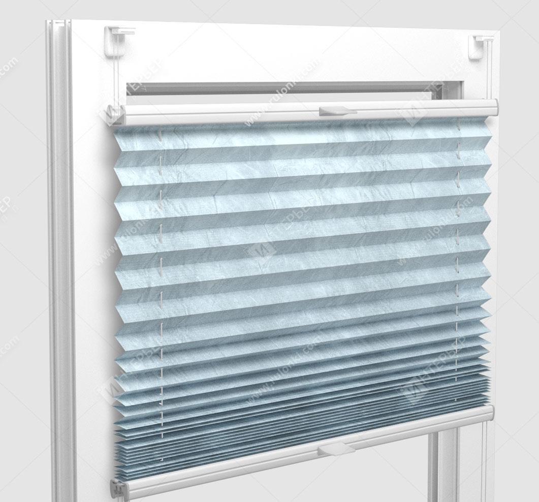 Шторы Плиссе - Краш металлик мятный на пластиковые окна