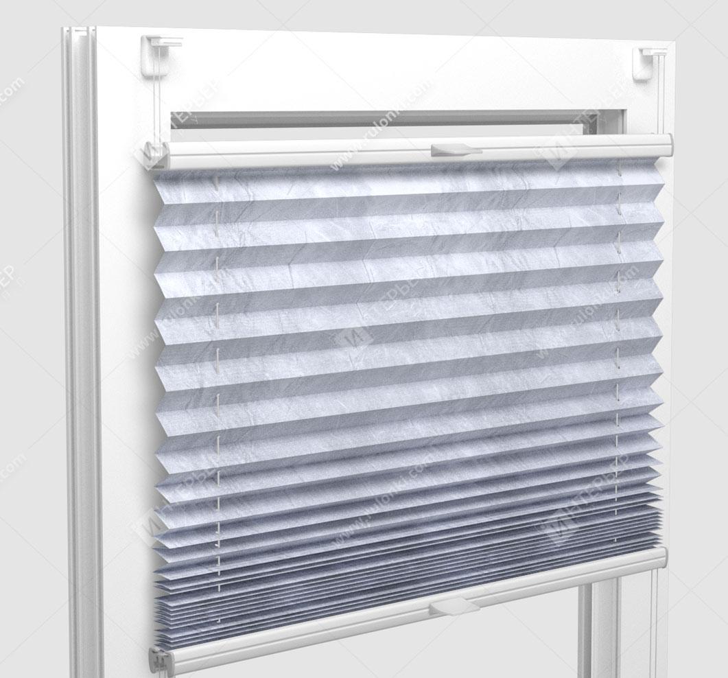 Шторы Плиссе - Краш металлик серебро на пластиковые окна