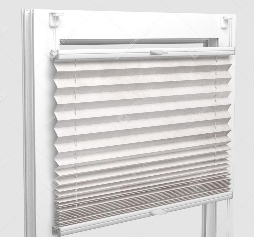 Шторы Плиссе - Краш перл кремовый на пластиковые окна