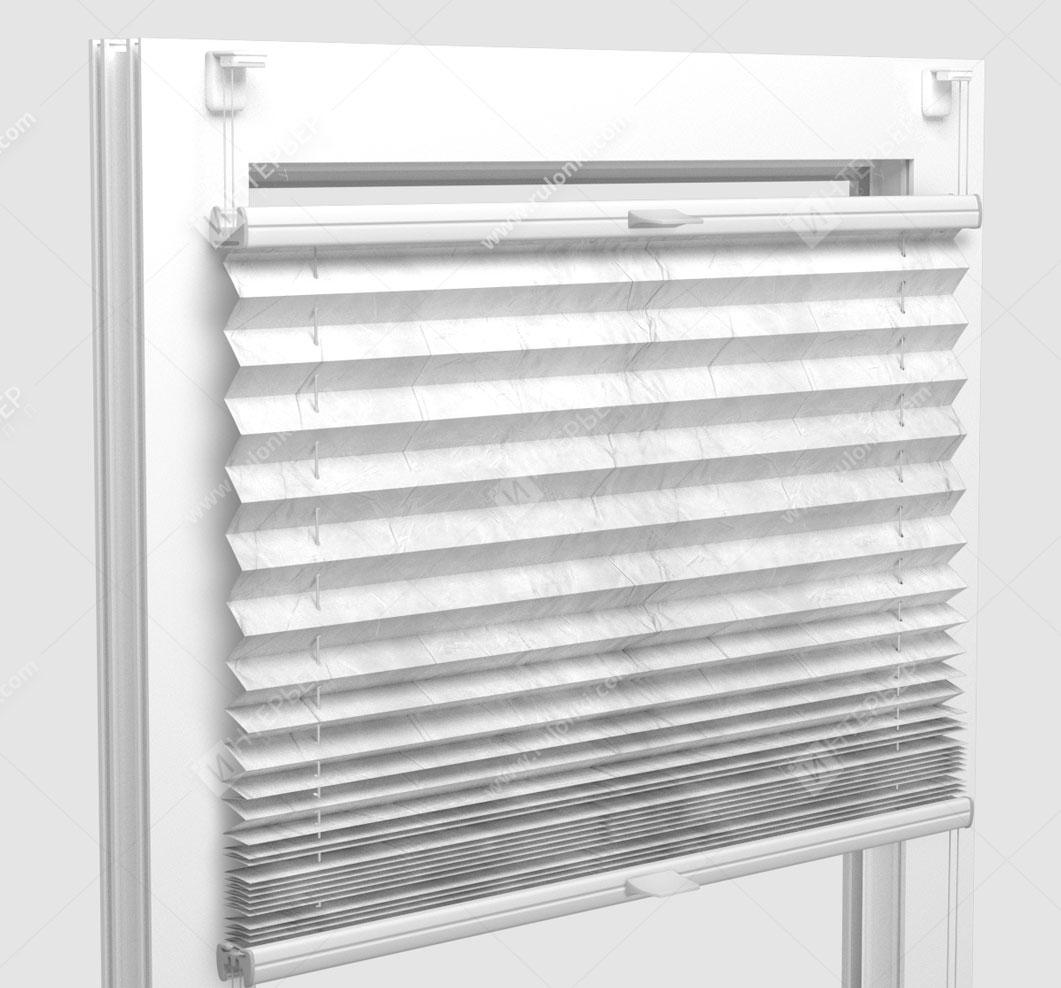 Шторы Плиссе - Краш перл снежно-белый на пластиковые окна