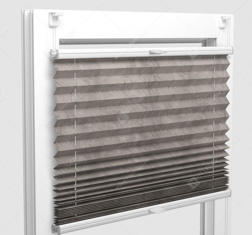 Шторы Плиссе - Краш серый на пластиковые окна