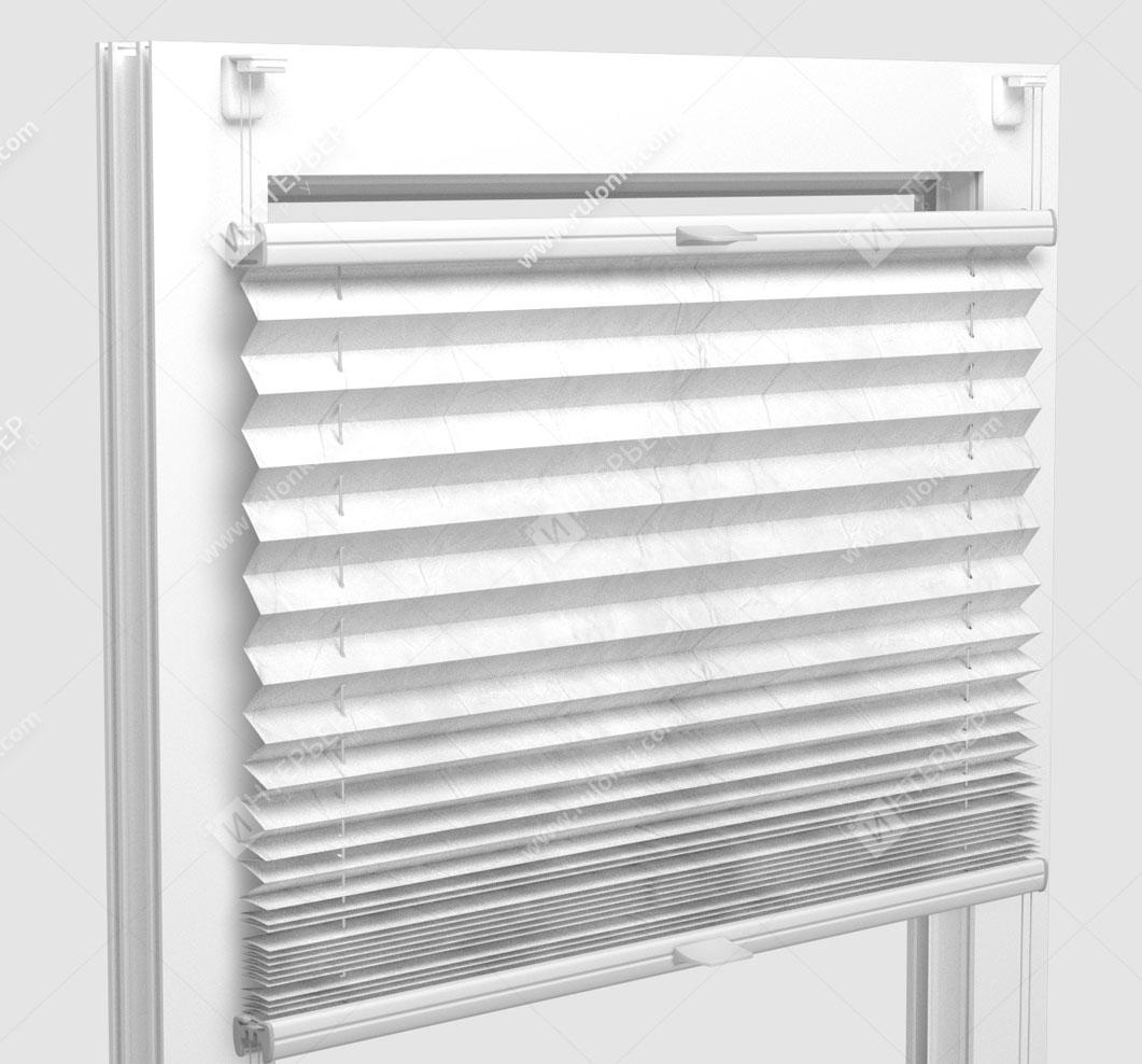 Шторы Плиссе - Краш снежно-белый на пластиковые окна