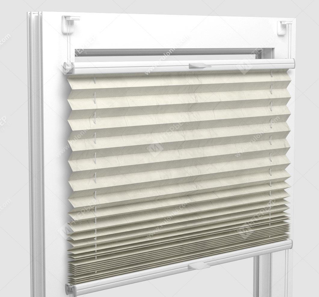 Шторы Плиссе - Краш светло-кремовый на пластиковые окна