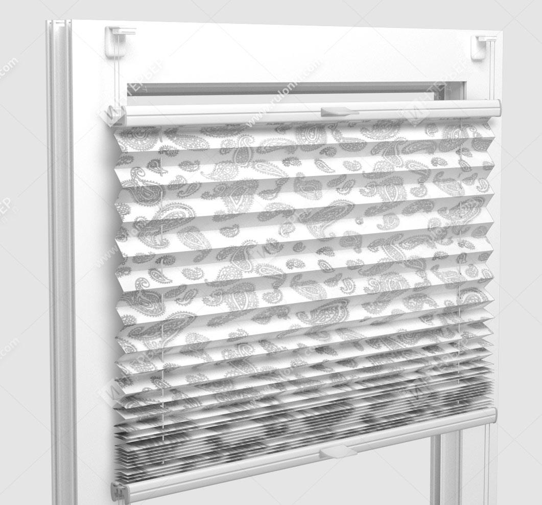 Шторы Плиссе - Монтелла серый на пластиковые окна