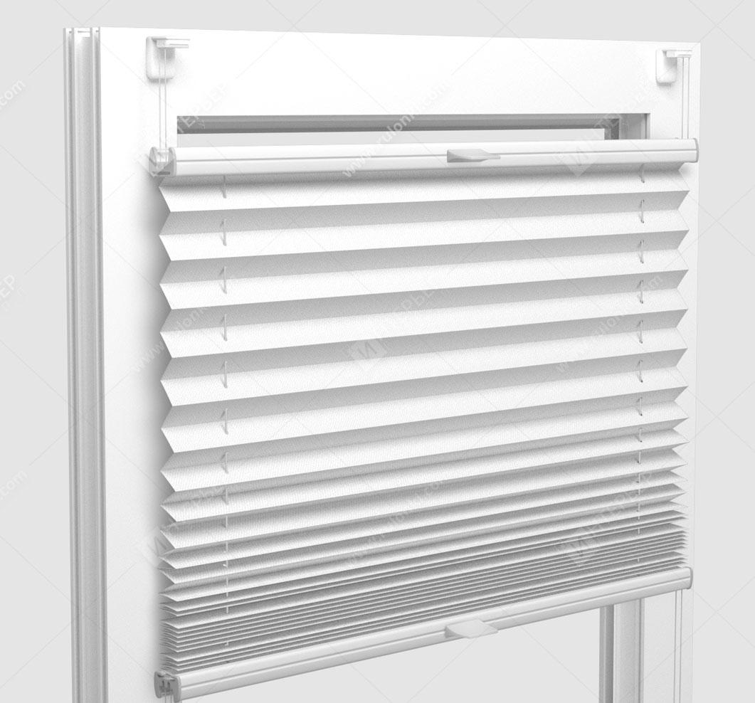 Шторы Плиссе - Мун блэкаут белый на пластиковые окна