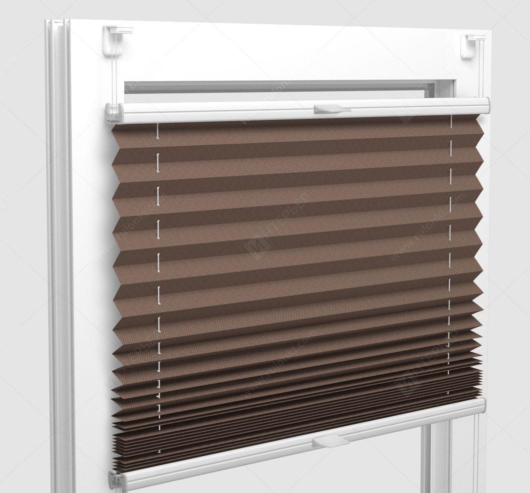 Шторы Плиссе - Мун блэкаут коричневый на пластиковые окна