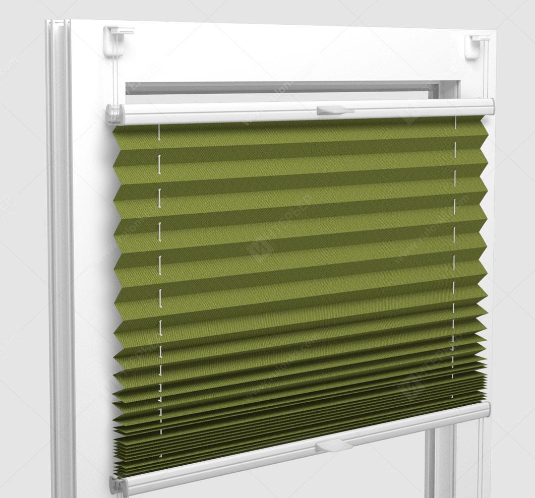 Шторы Плиссе - Мун блэкаут лайм на пластиковые окна