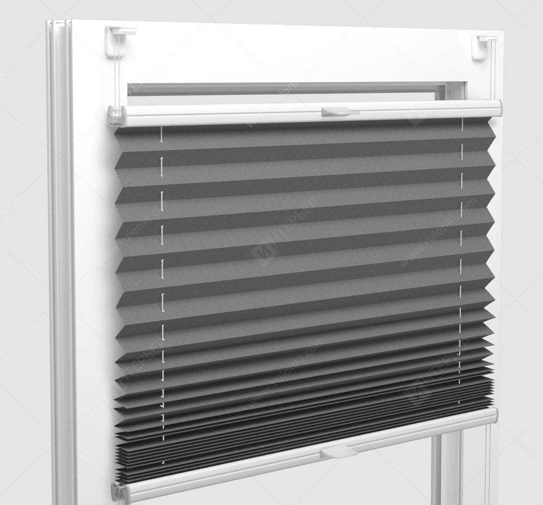 Шторы Плиссе - Мун блэкаут серый на пластиковые окна