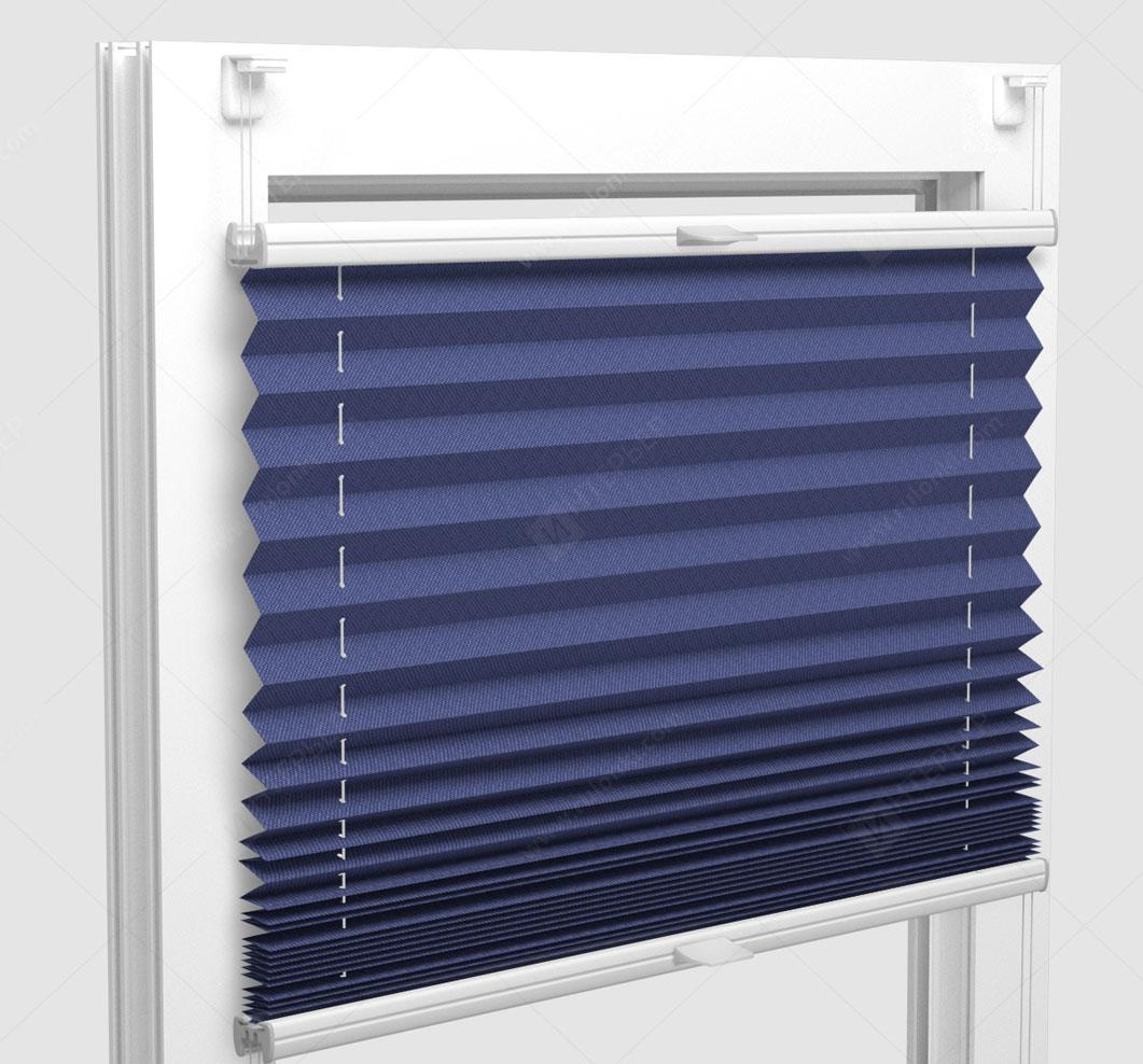 Шторы Плиссе - Мун блэкаут синий на пластиковые окна