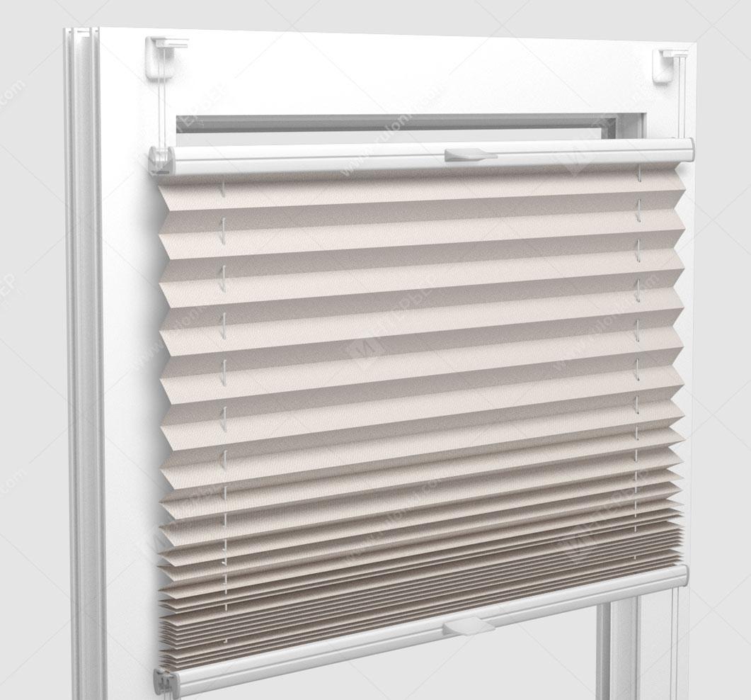 Шторы Плиссе - Мун блэкаут светло-кремовый на пластиковые окна