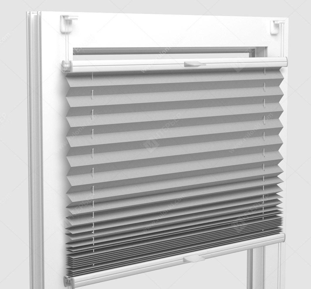 Шторы Плиссе - Мун блэкаут светло-серый на пластиковые окна