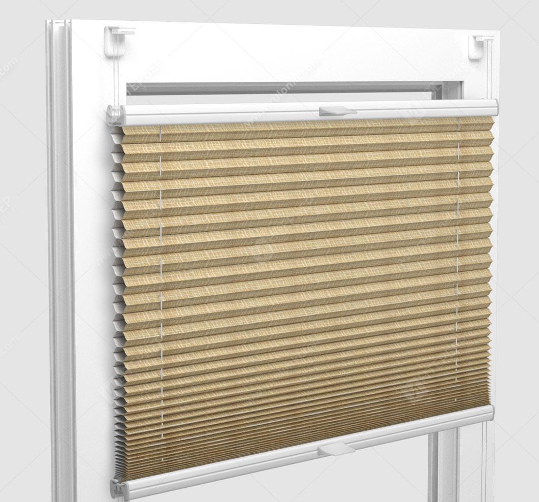 Шторы Плиссе - Оттава блэкаут светло-коричневый на пластиковые окна