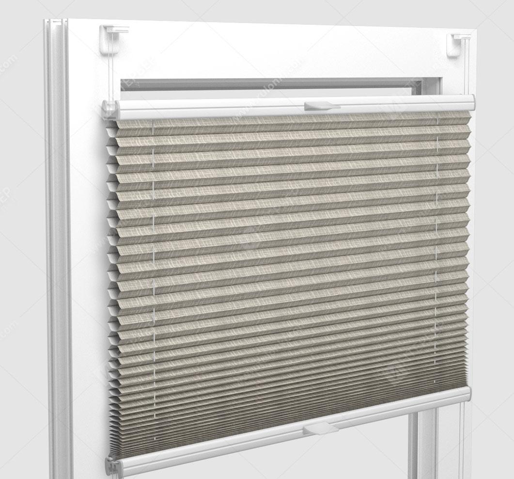 Шторы Плиссе - Оттава блэкаут светло-серый на пластиковые окна