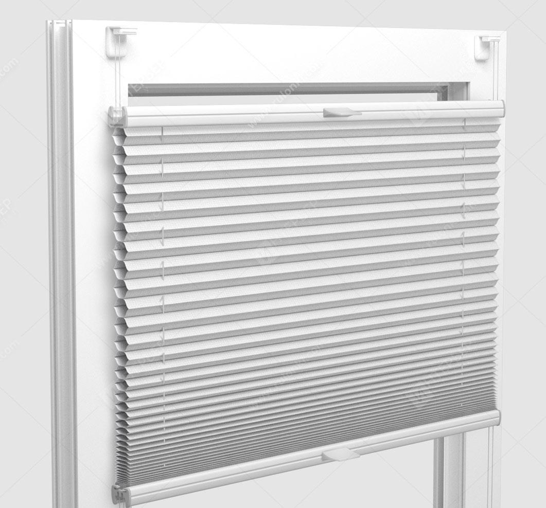 Шторы Плиссе - Палма блэкаут белый на пластиковые окна