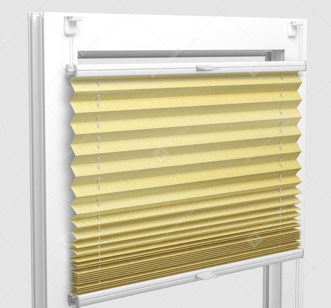 Шторы Плиссе - Шайн желтый на пластиковые окна