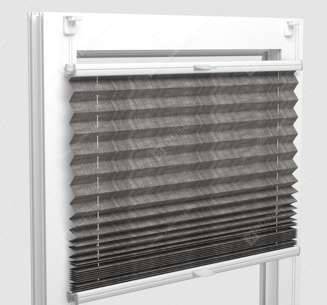 Шторы Плиссе - Сето блэкаут серый на пластиковые окна