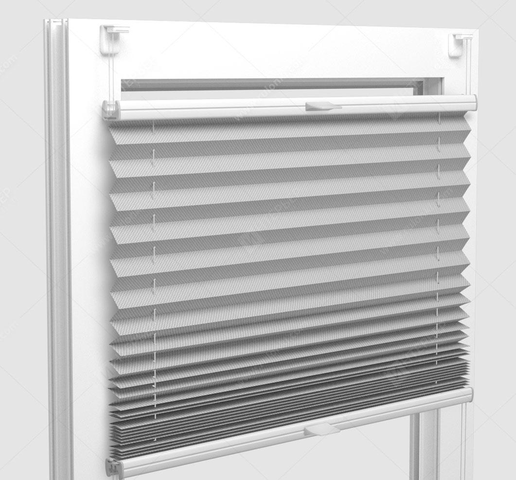 Шторы Плиссе - Силкшейд алю бело-серый на пластиковые окна