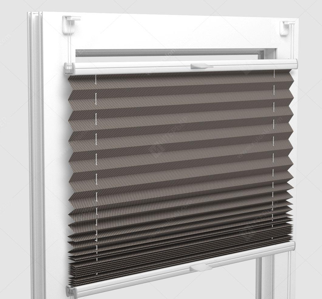 Шторы Плиссе - Силкшейд алю серый на пластиковые окна